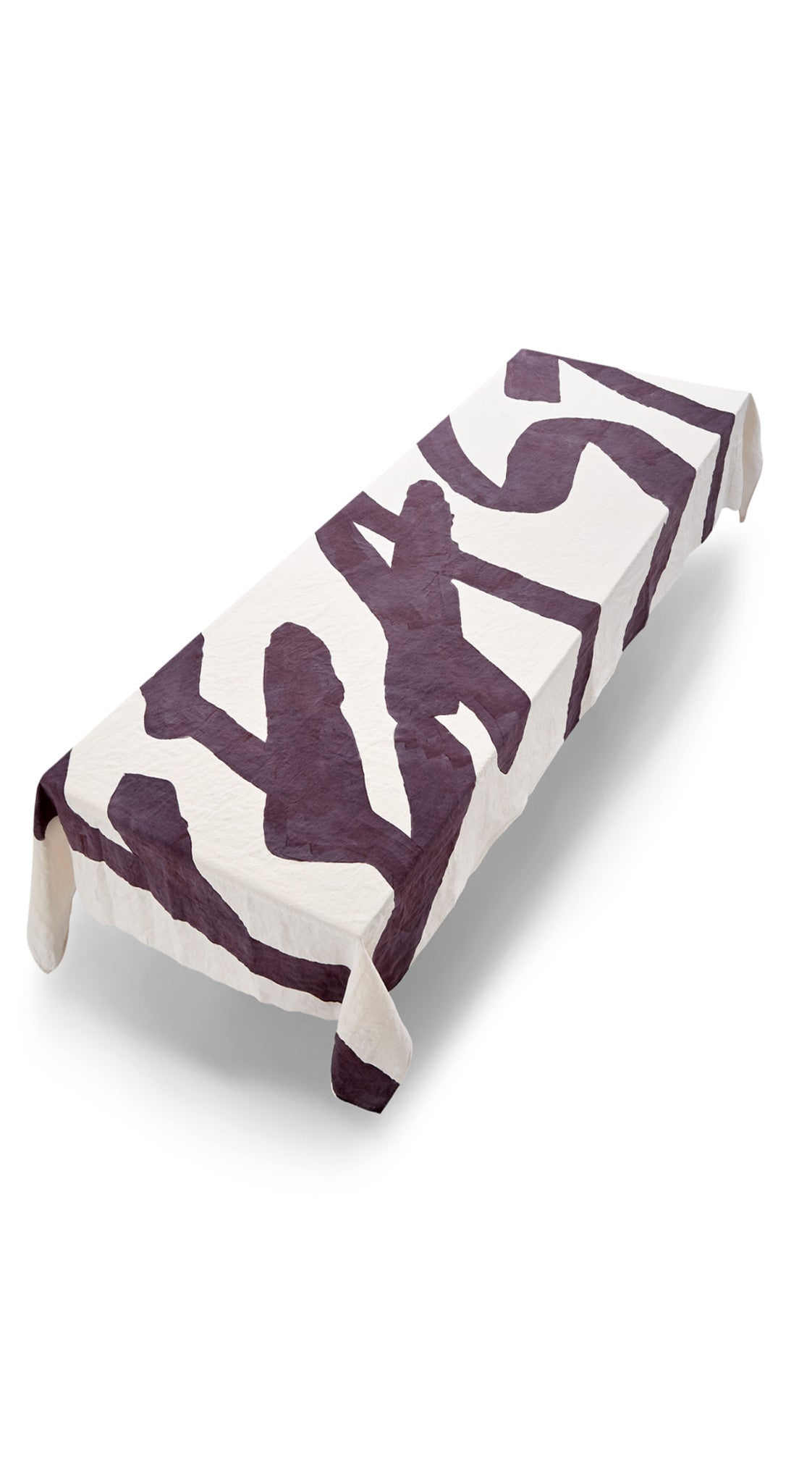 Feast Word Linen Tablecloth in Grape Purple