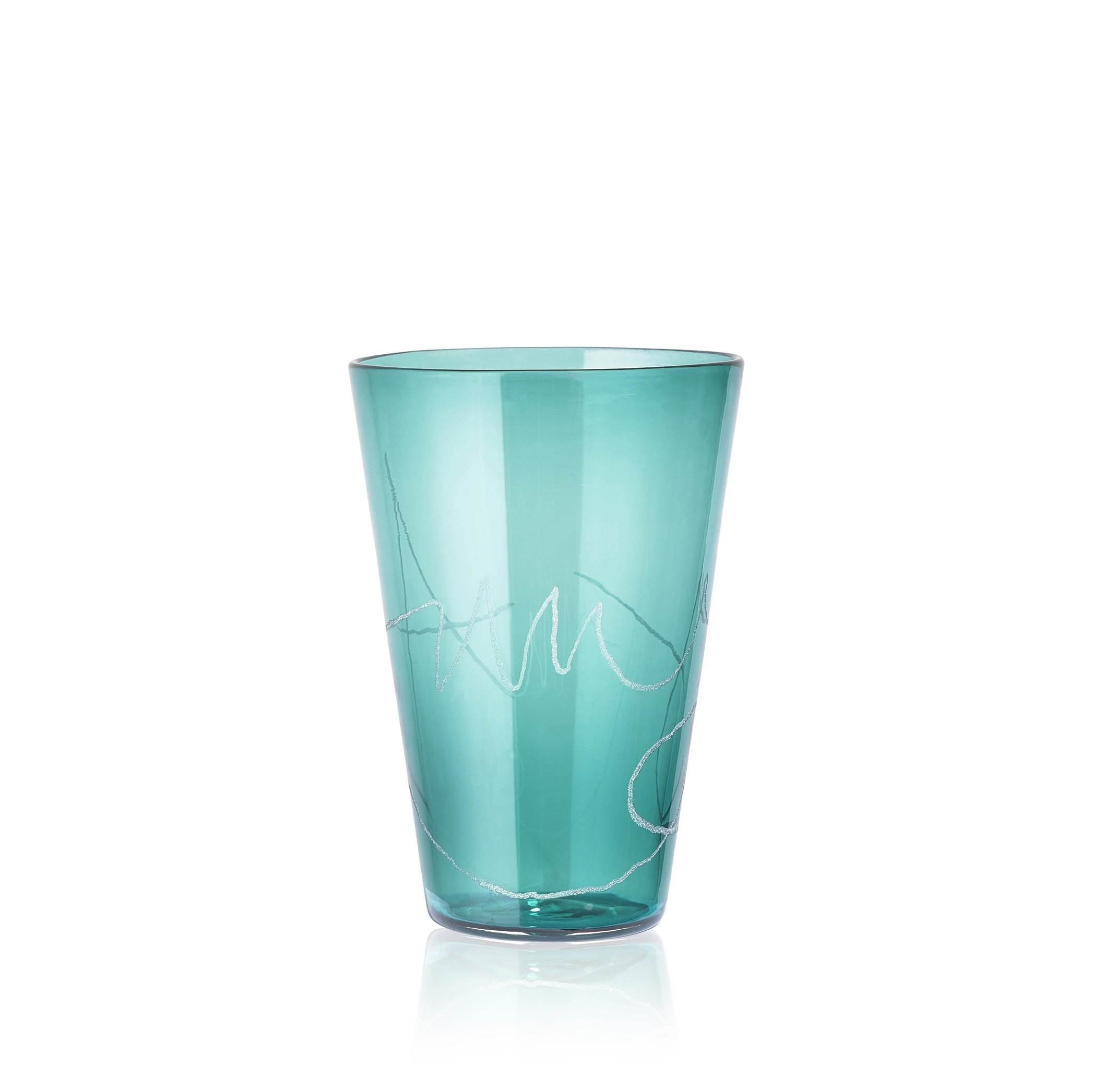 Personalised Handblown Graffiti Glass in Emerald Green