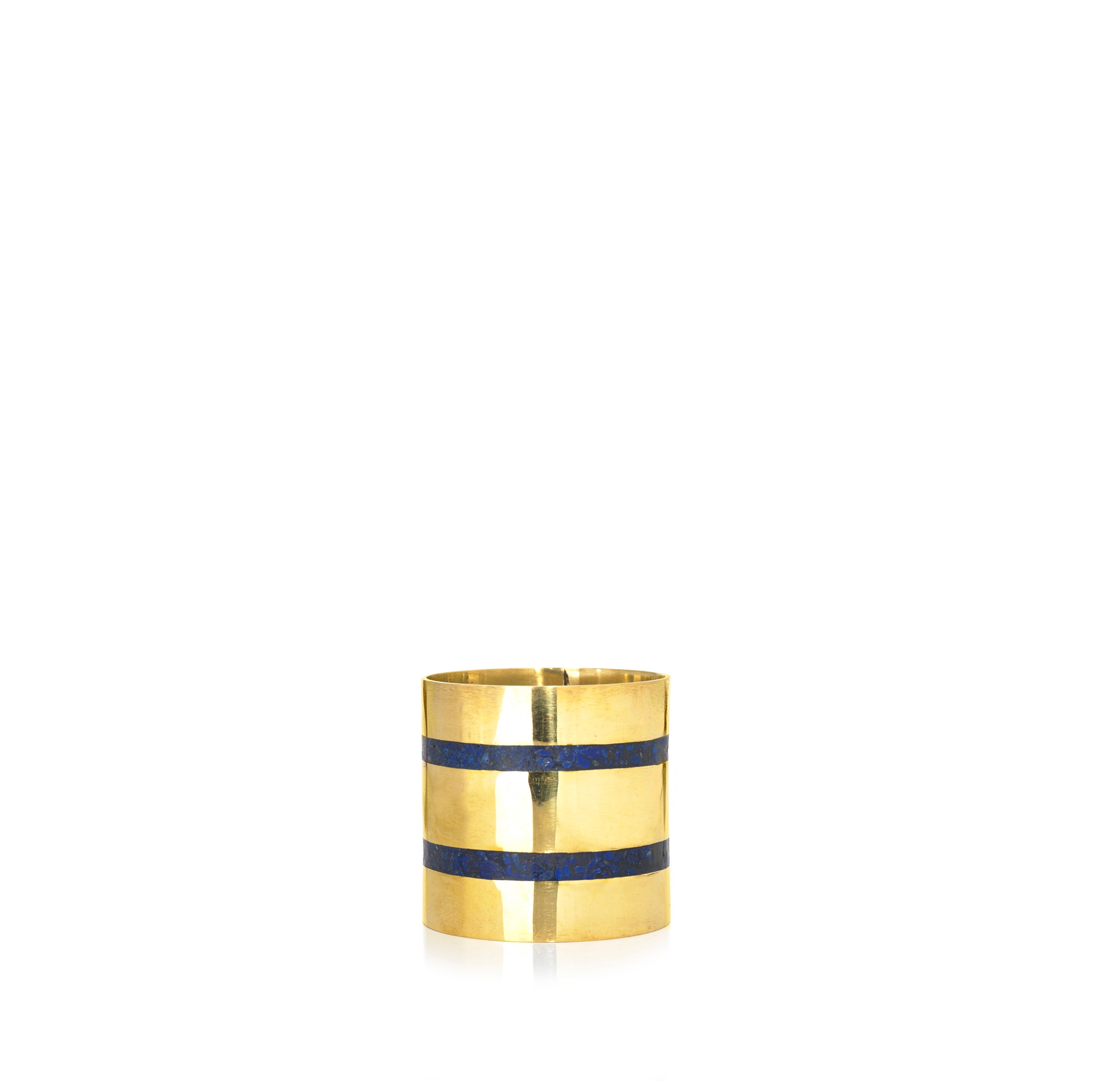S&B x Pippa Small Lapis Inlaid Napkin Ring, Thin Double Stripe Horizontal