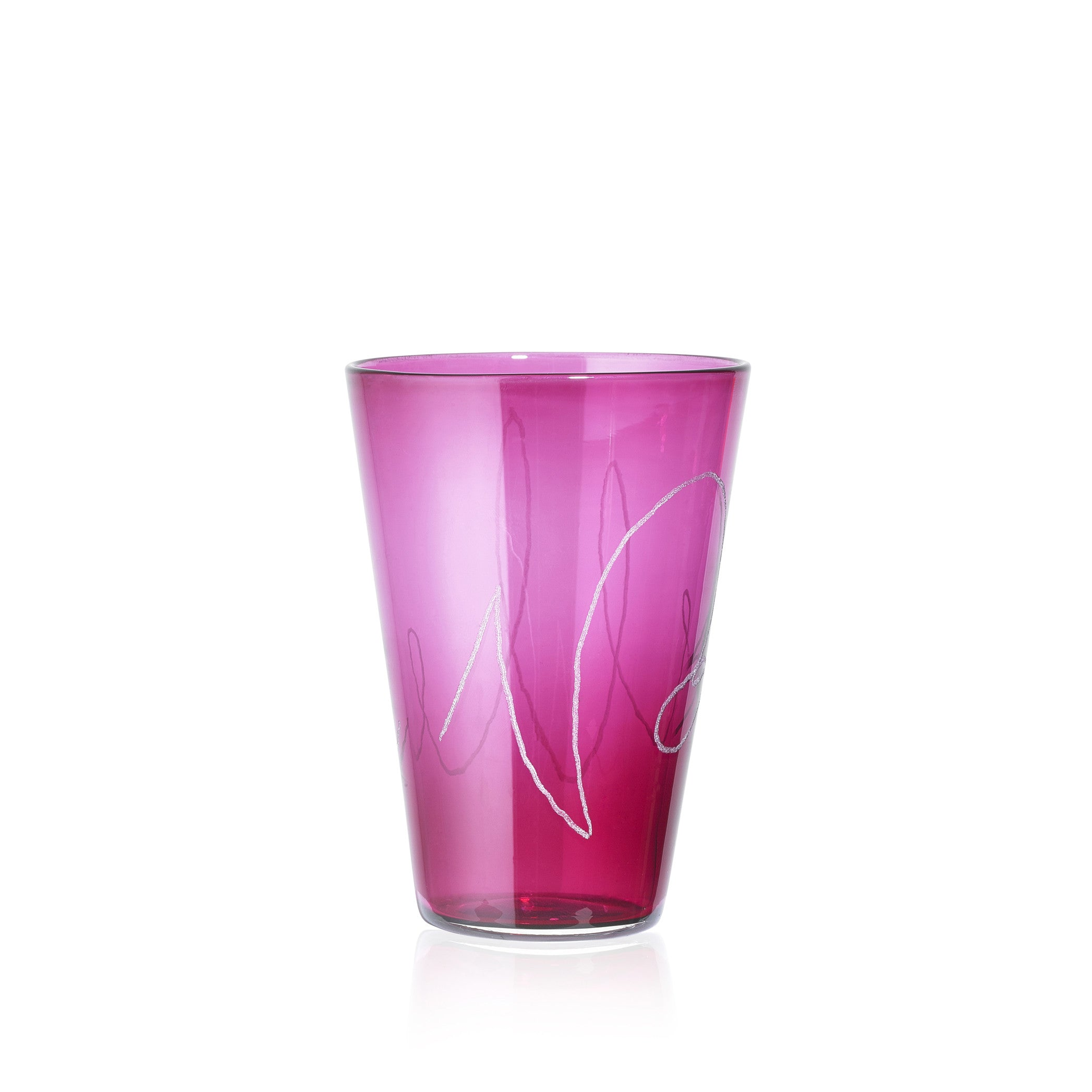 Personalised Handblown Graffiti Glass in Dark Ruby