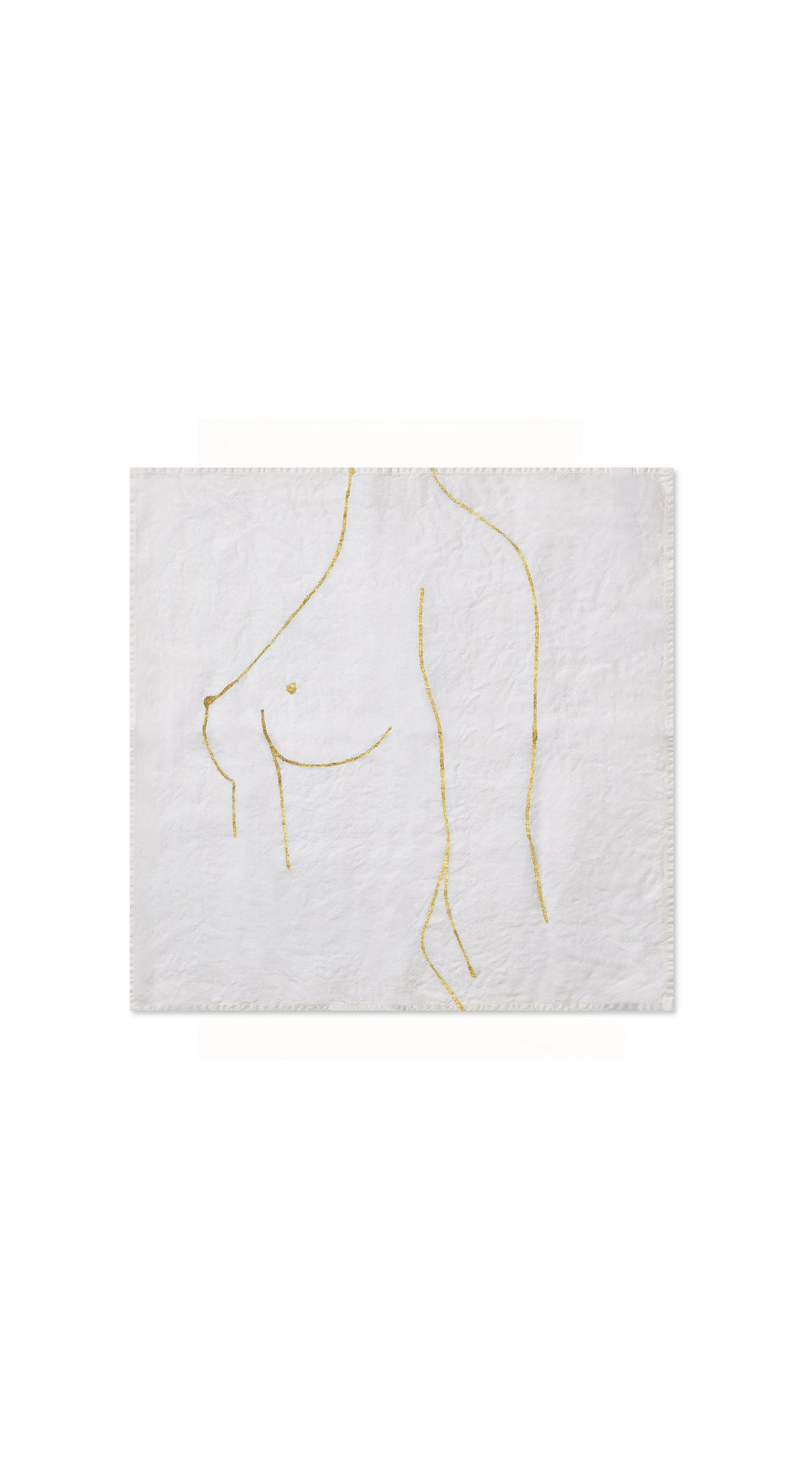 "Nude Linen Napkin ""Female Chest"" in Gold"