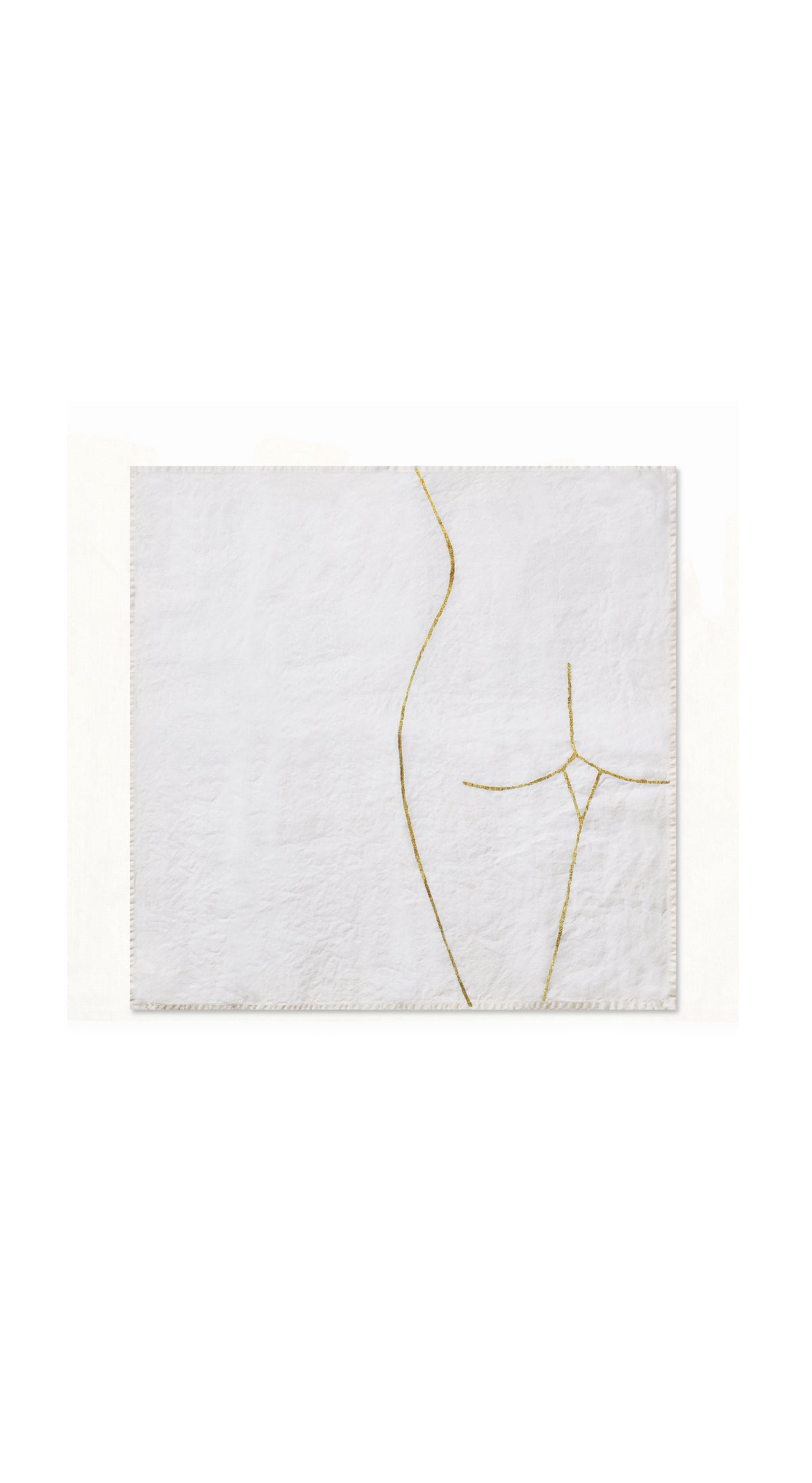 "Nude Linen Napkin ""Female Rear"" in Gold"