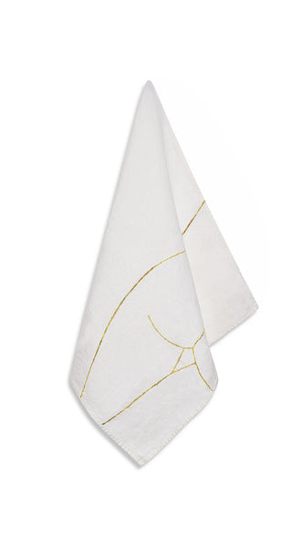 "Nude Linen Napkin ""Female Three"" in Gold"