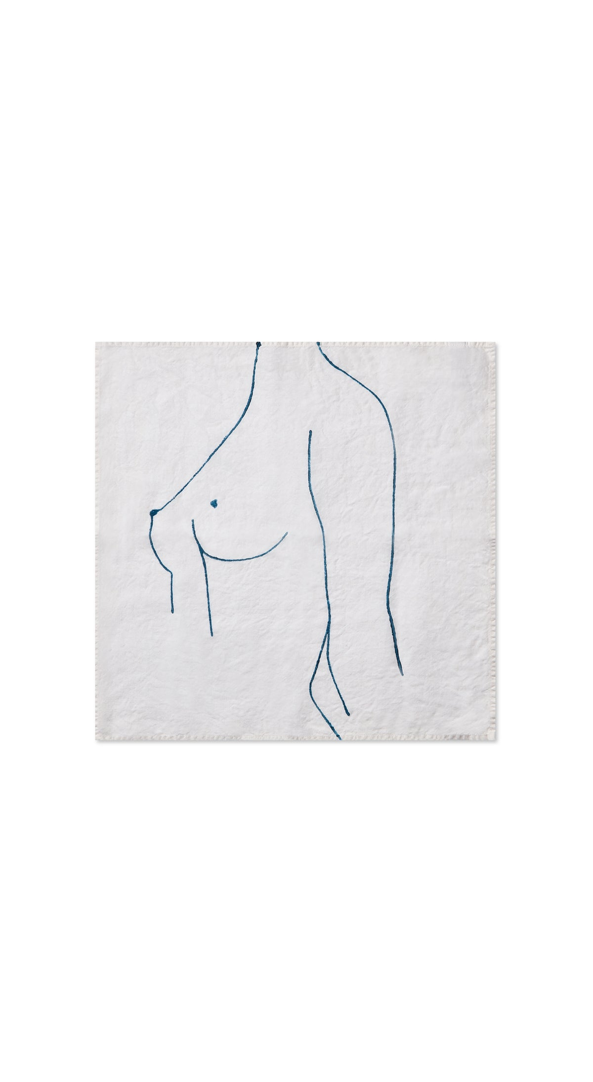 "Nude Linen Napkin ""Female One"" in Midnight Blue"