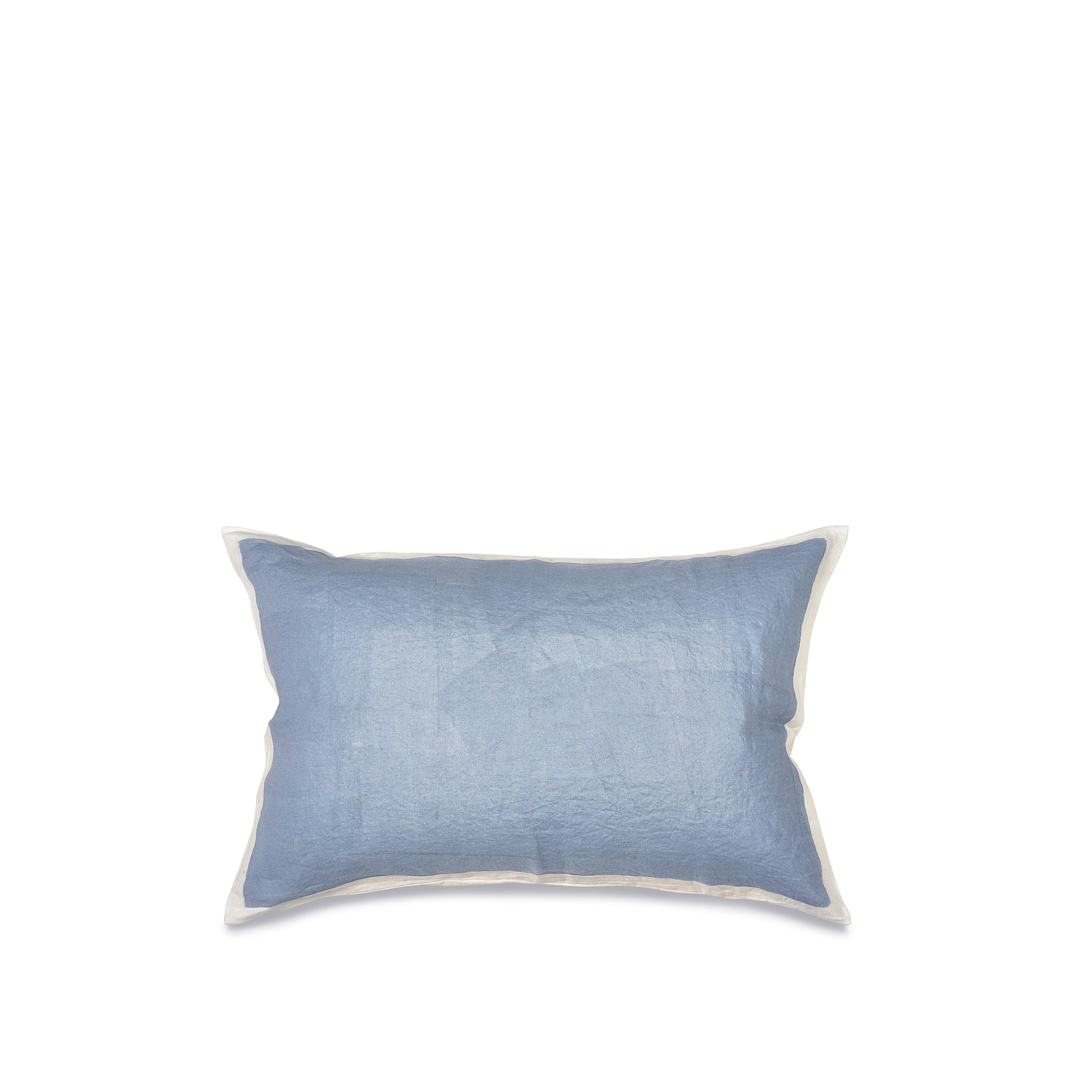 Hand Painted Linen Cushion Cover in Pale Blue, 60cm x 40cm