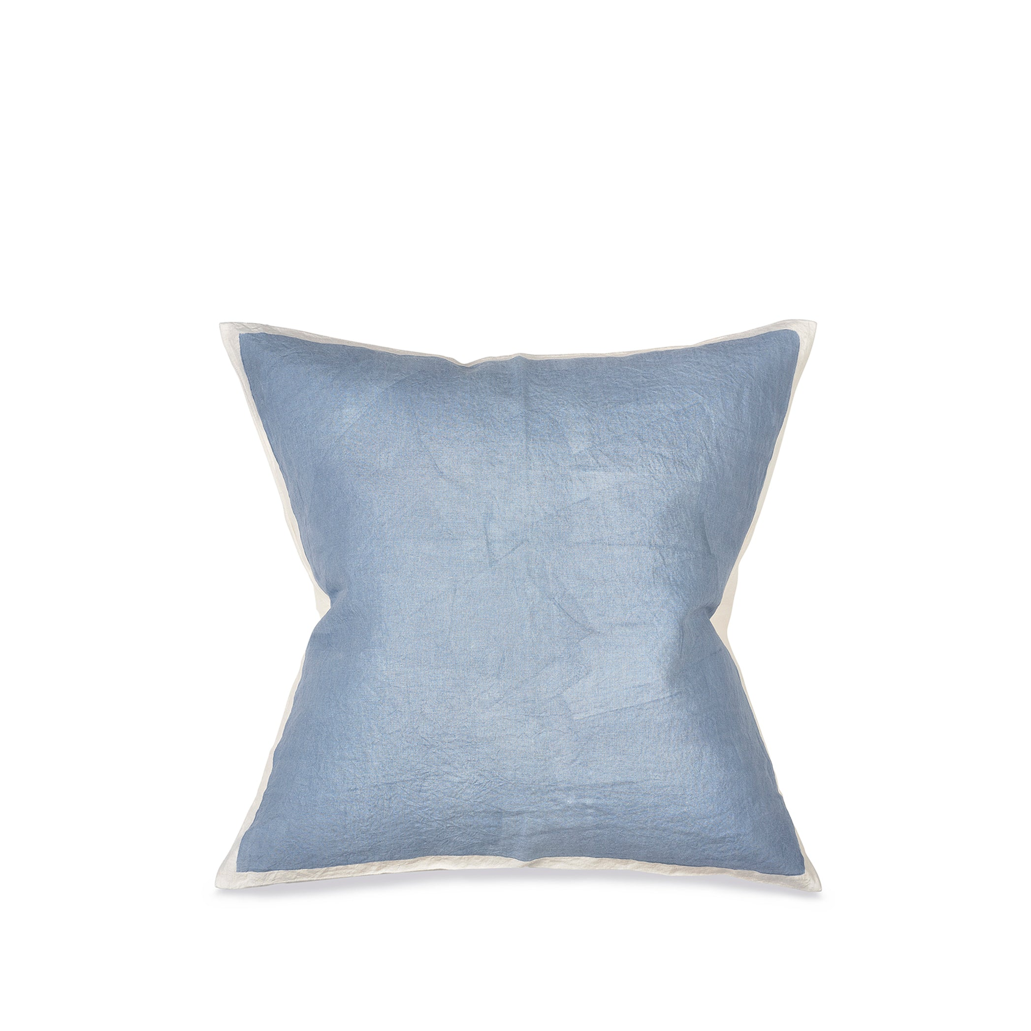 Hand Painted Linen Cushion Cover in Pale Blue, 60cm x 60cm
