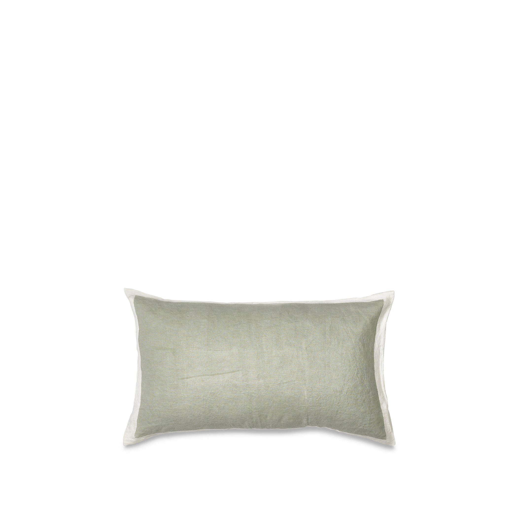 Hand Painted Linen Cushion Cover in Pale Green, 50cm x 30cm