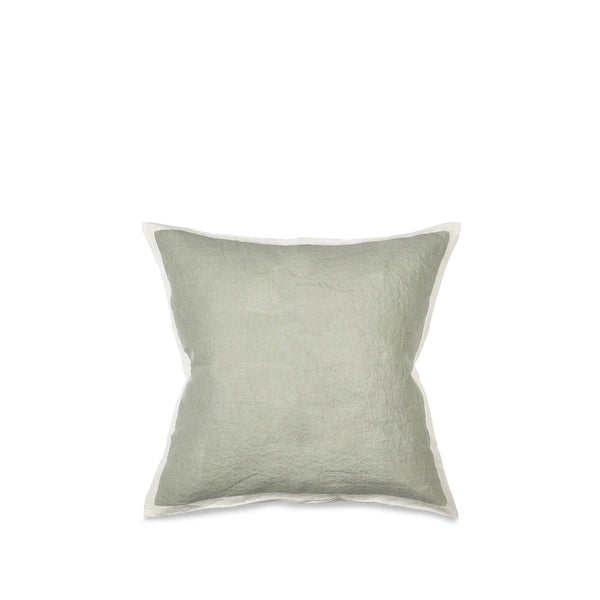 Hand Painted Linen Cushion Cover in Pale Green, 50cm x 50cm