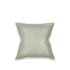 Hand Painted Linen Cushion Cover in Pale Green, 60cm x 60cm