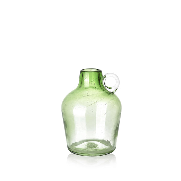 Handblown Glass Pitcher in Green, 18cm