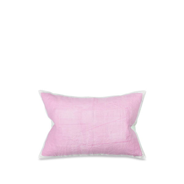 Hand Painted Linen Cushion Cover in Pale Pink, 60cm x 40cm