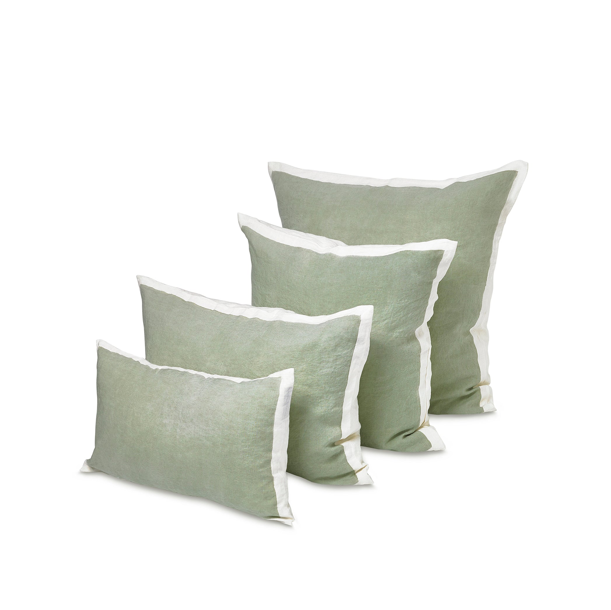 Hand Painted Linen Cushion in Pale Green, 60cm x 40cm