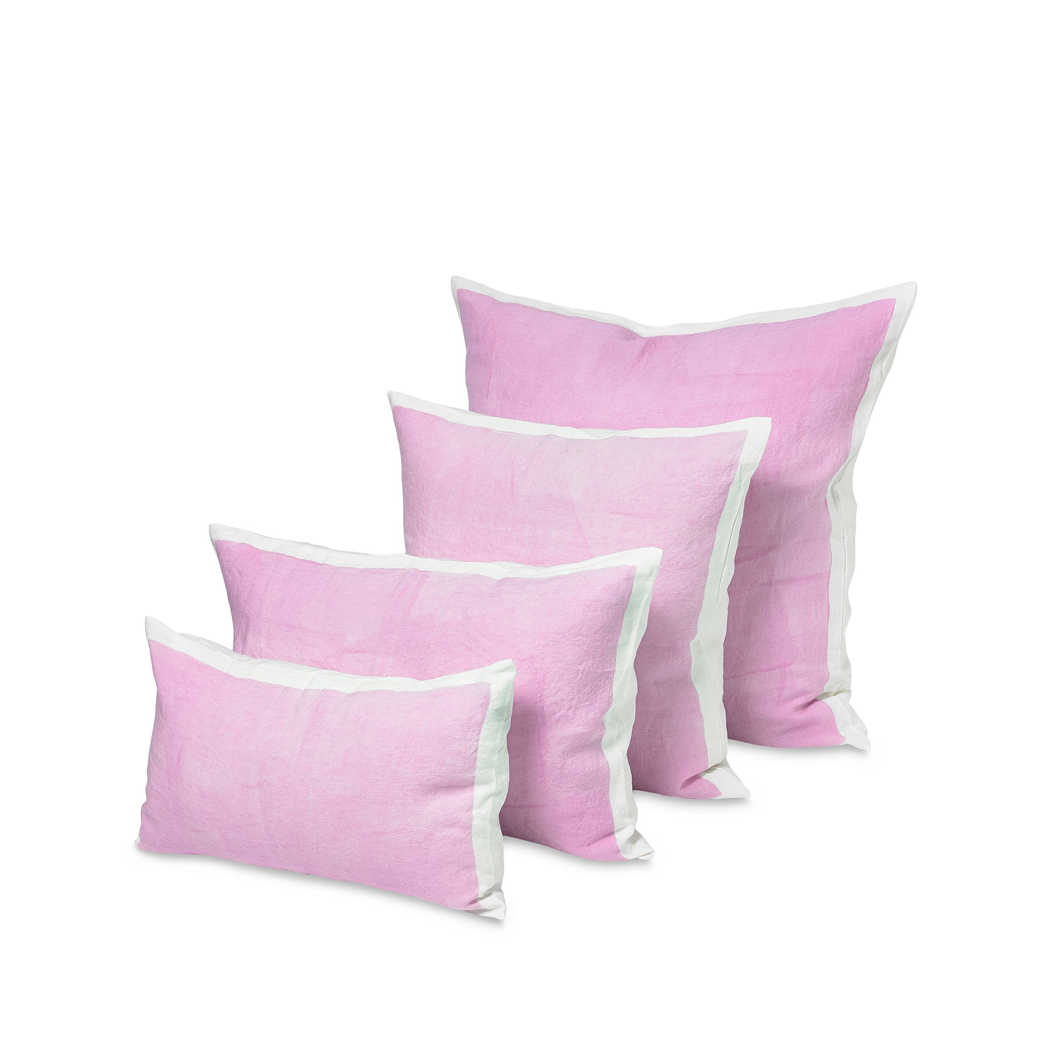 Hand Painted Linen Cushion in Pale Pink, 60cm x 60cm