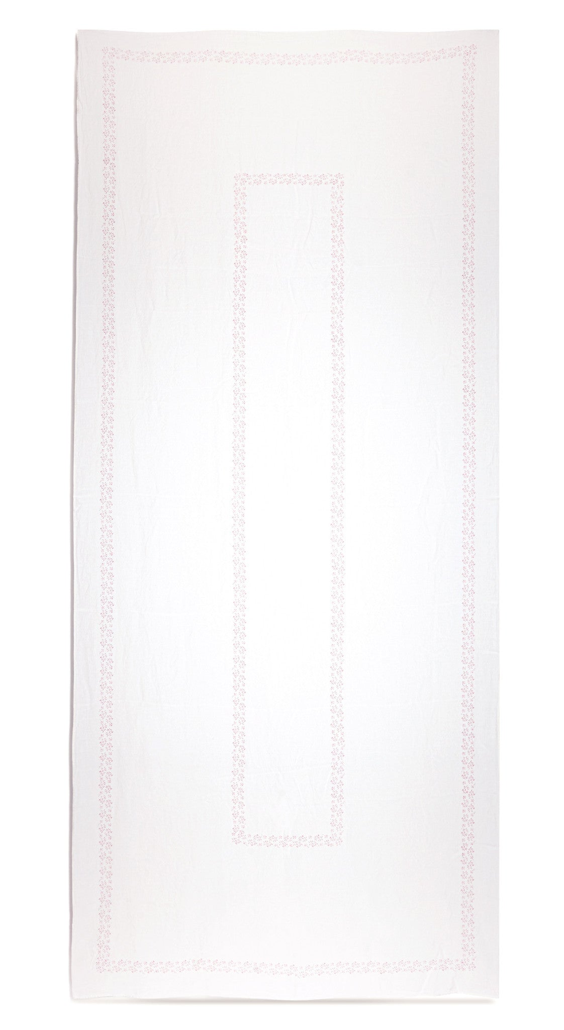 Bernadette's Framed Flower Linen Tablecloth in Rose Pink