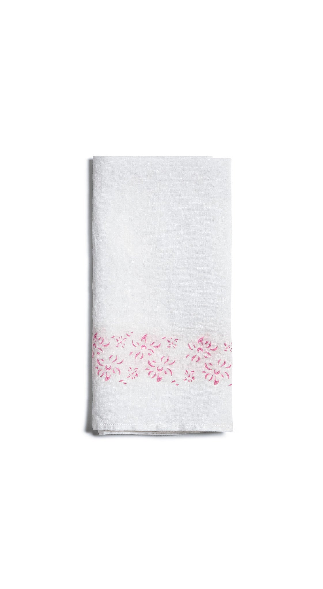 Bernadette's Framed Flower Linen Napkin in Rose Pink