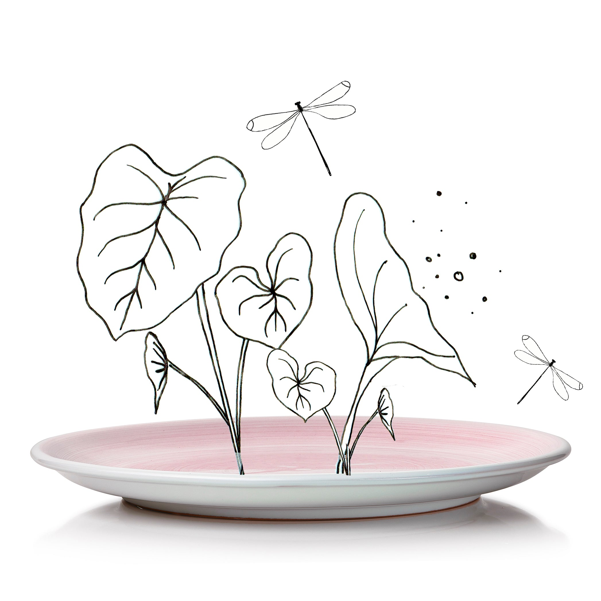 S&B 'Brushed' Ceramic Dinner Plate in Pastel Pink, 28cm