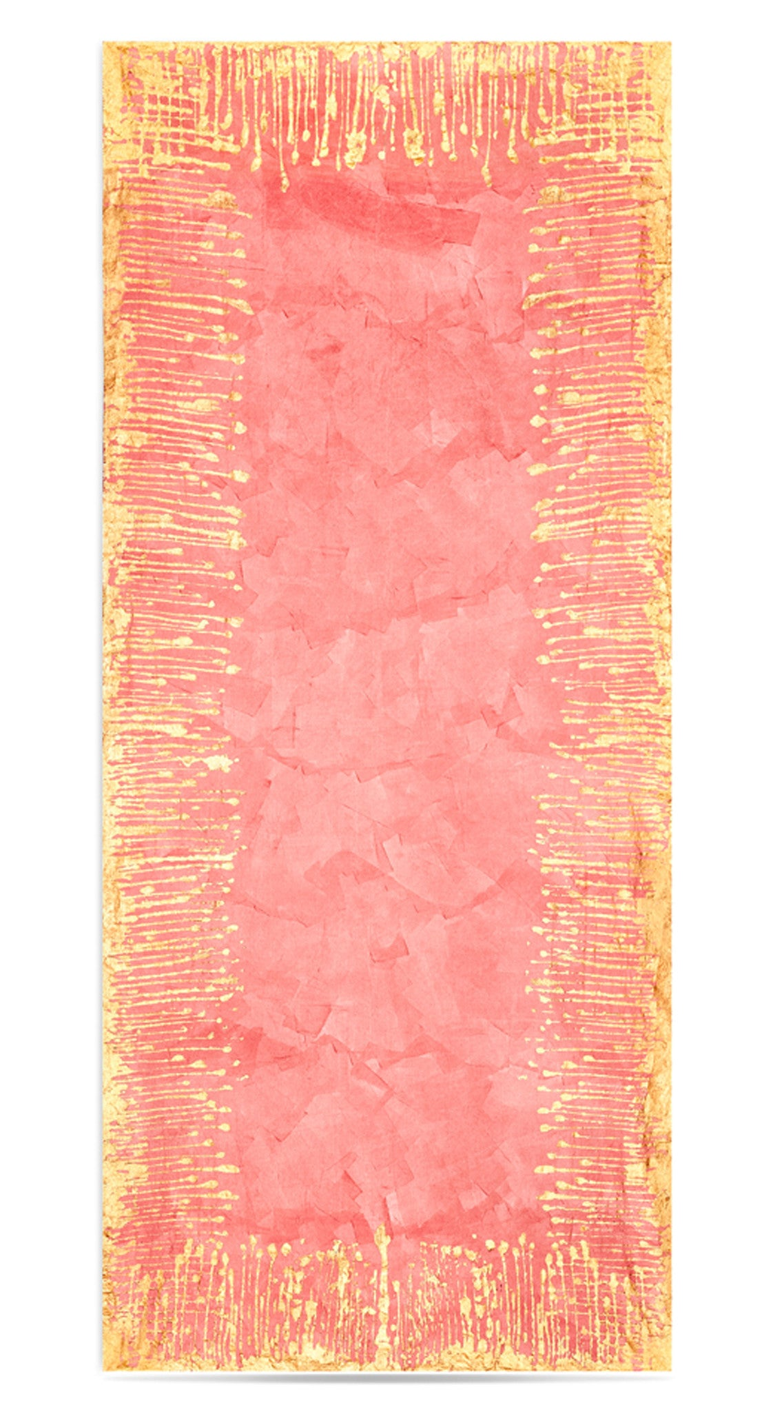 Ink Linen Tablecloth in Deep Pink with Gold Drips