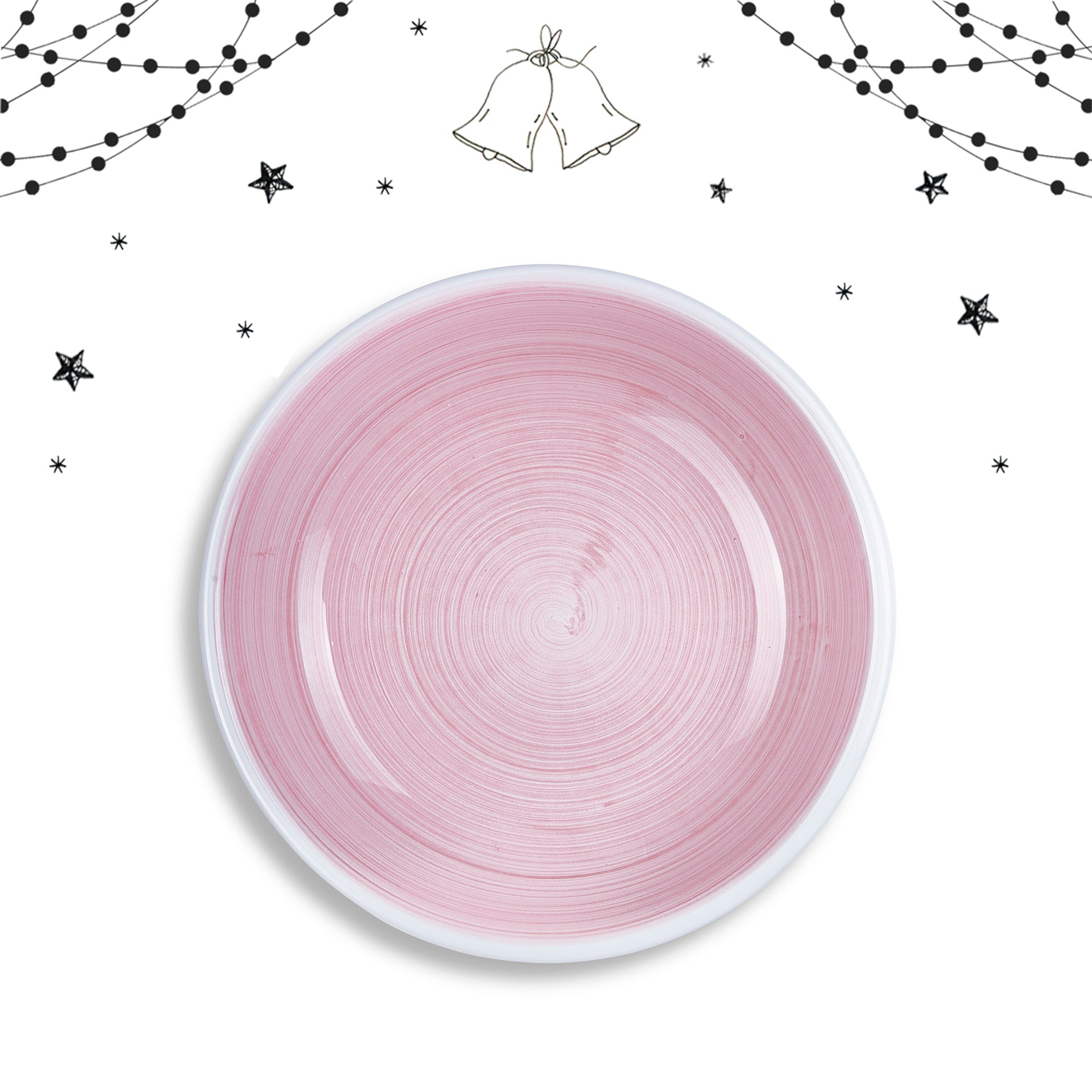 S&B 'Brushed' Ceramic Pasta Bowl in Pastel Pink, 22cm