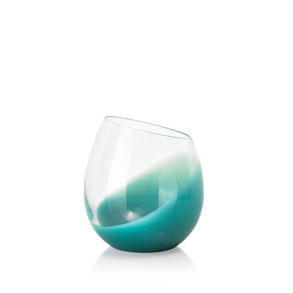 Set of Six Handblown 'Fila' Glass Tumblers, Designed by Karim Rashid in Turquoise