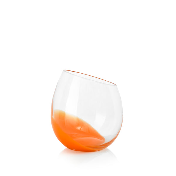 Set of Six Handblown 'Fila' Glass Tumblers, Designed by Karim Rashid in Orange