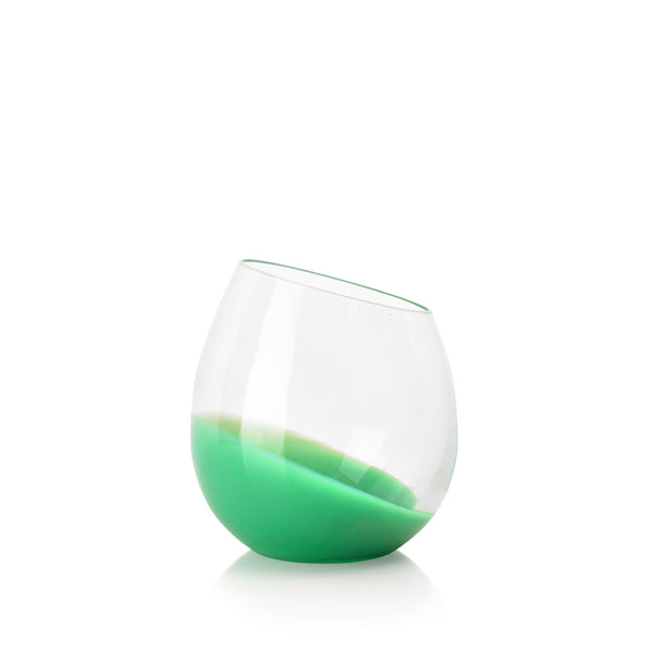 Set of Six Handblown 'Fila' Glass Tumblers, Designed by Karim Rashid in Green