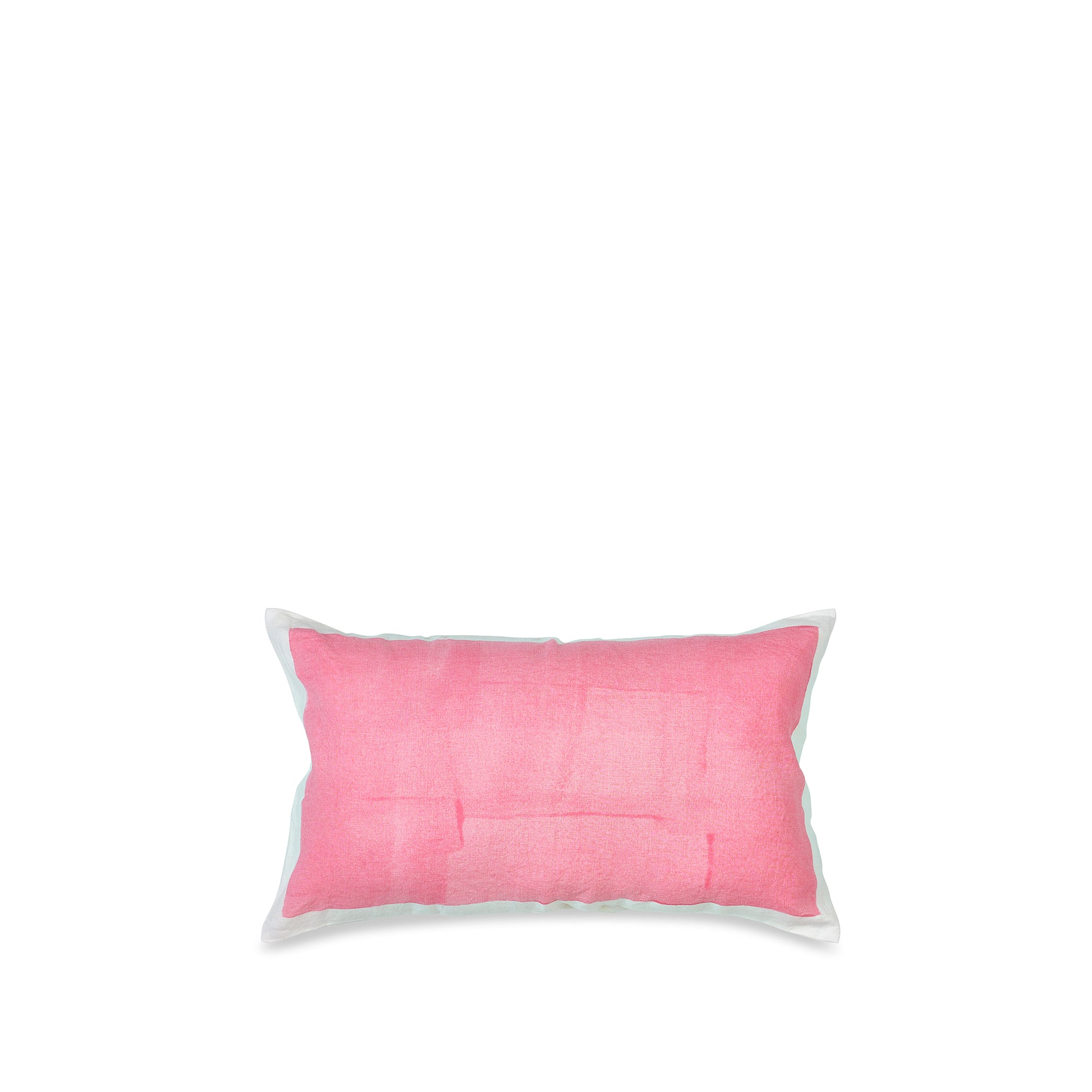 Hand Painted Linen Cushion in Rose Pink, 50cm x 30cm