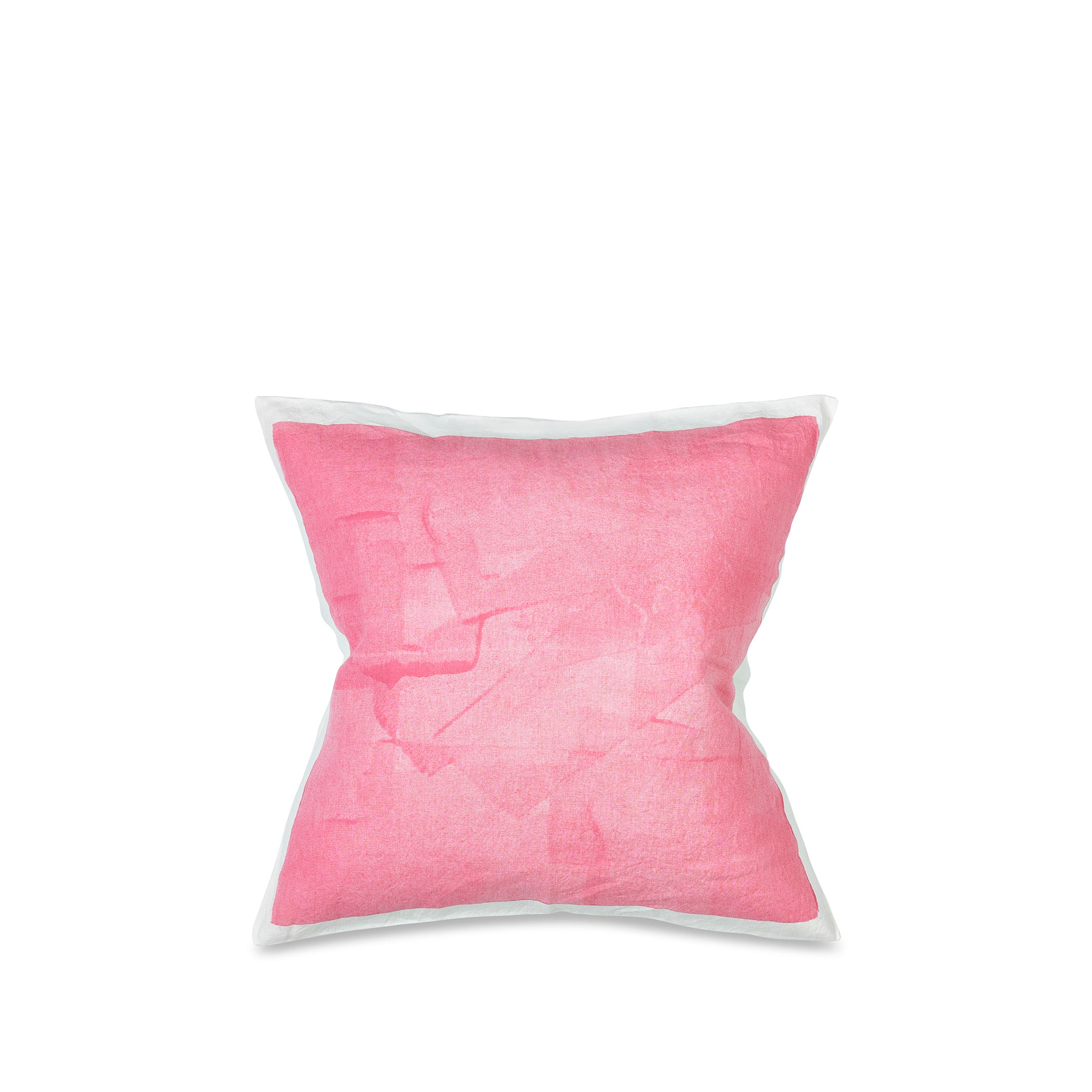 Hand Painted Linen Cushion in Rose Pink, 50cm x 50cm