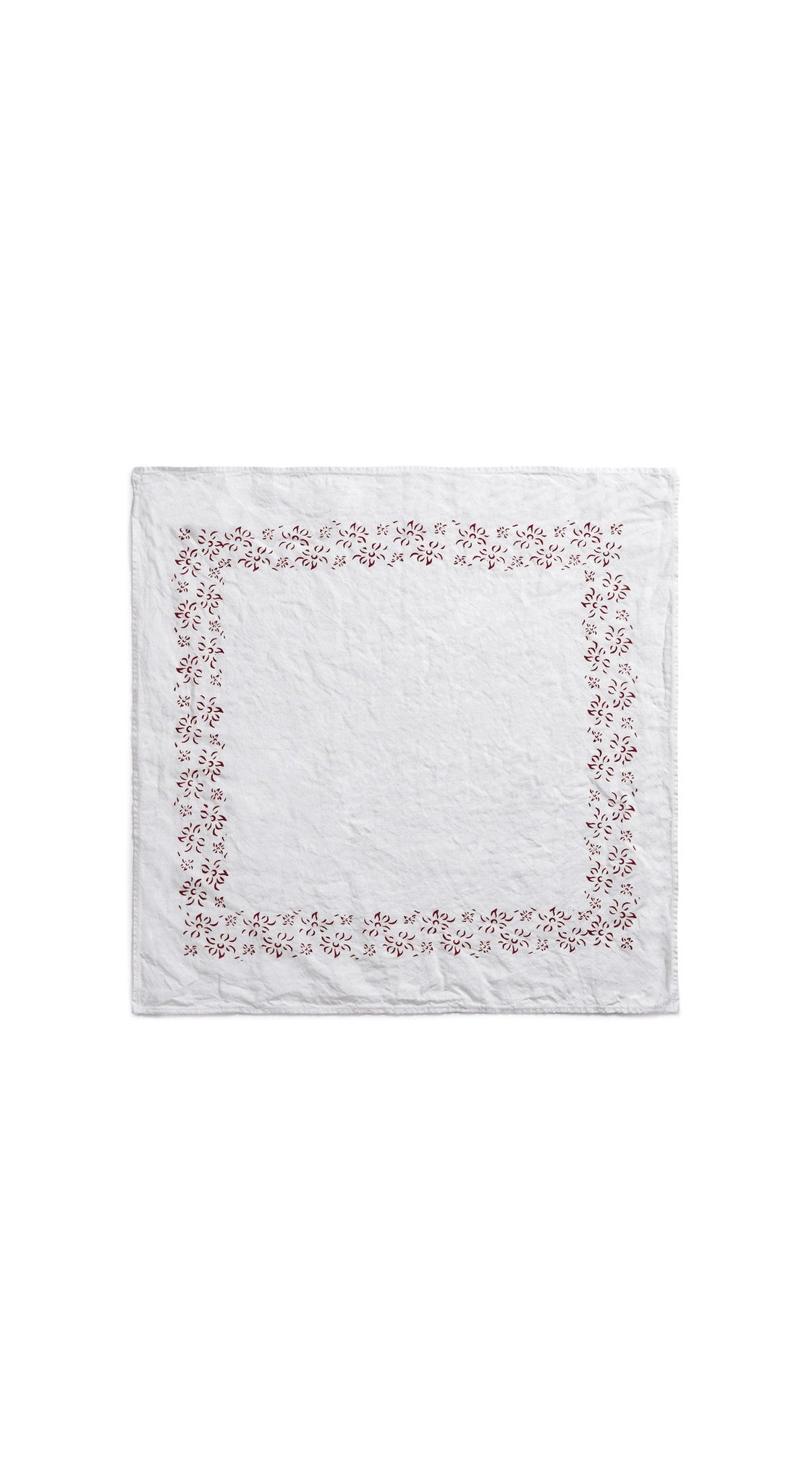 Bernadette's Framed Flower Linen Napkin in Claret Red