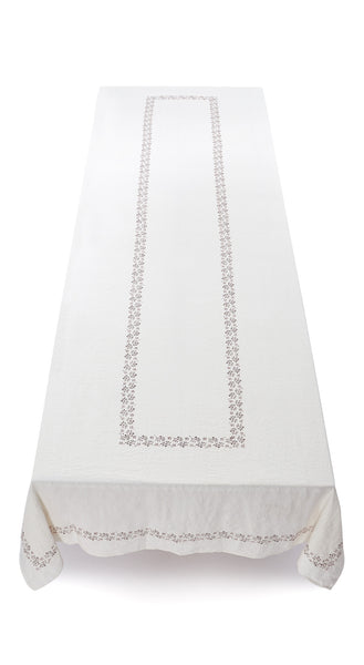 Bernadette's Framed Flower Linen Tablecloth in Claret Red