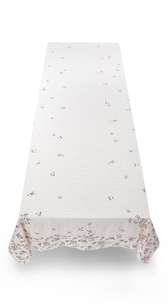 Bernadette's Falling Flower Linen Tablecloth in Claret Red