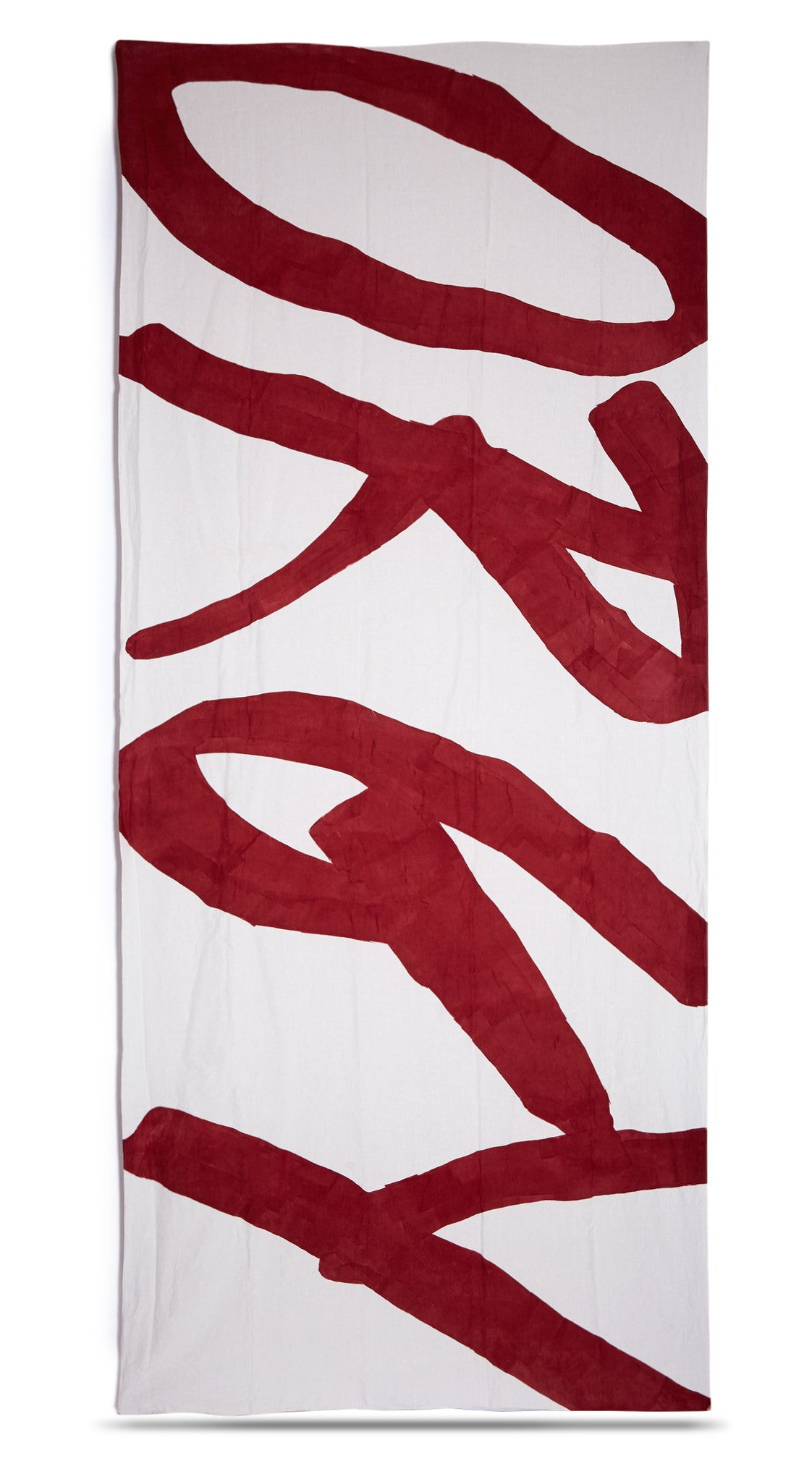 Orgy Word Linen Tablecloth in Claret Red