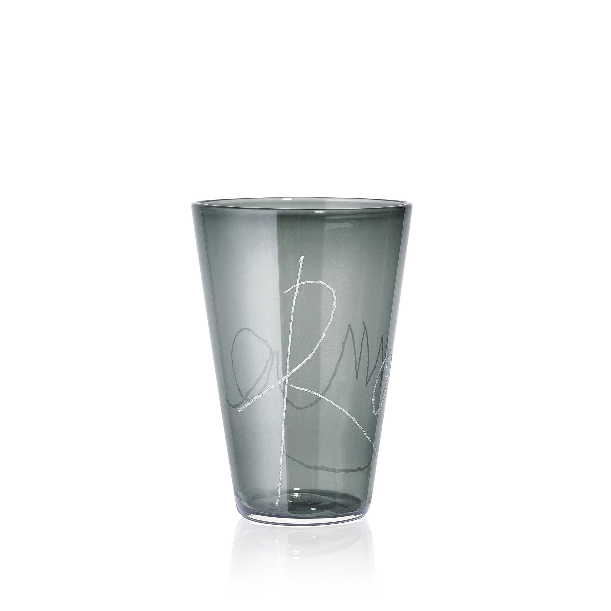 Personalised Handblown Graffiti Glass in Grey