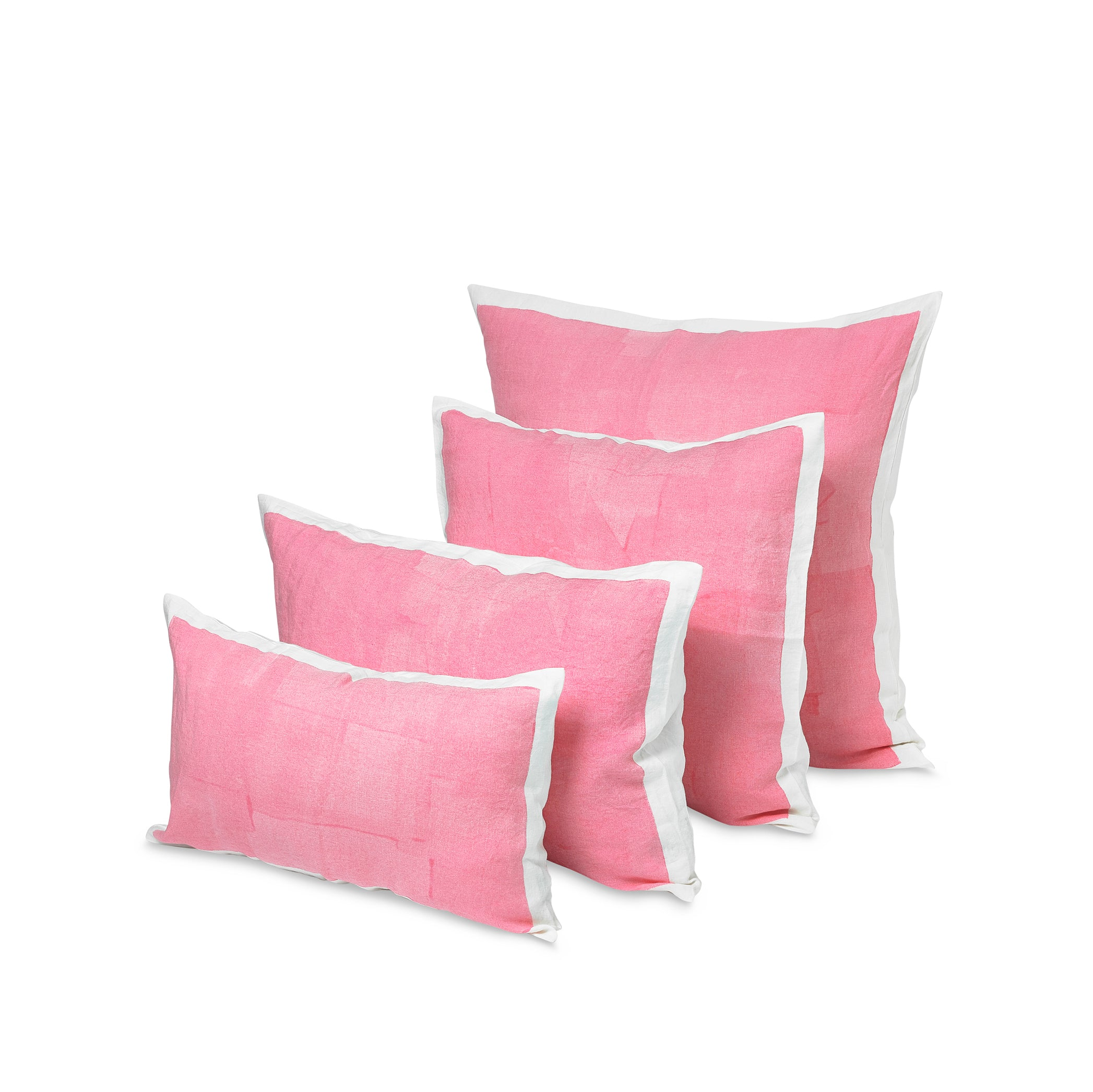 Hand Painted Linen Cushion in Rose Pink, 60cm x 60cm