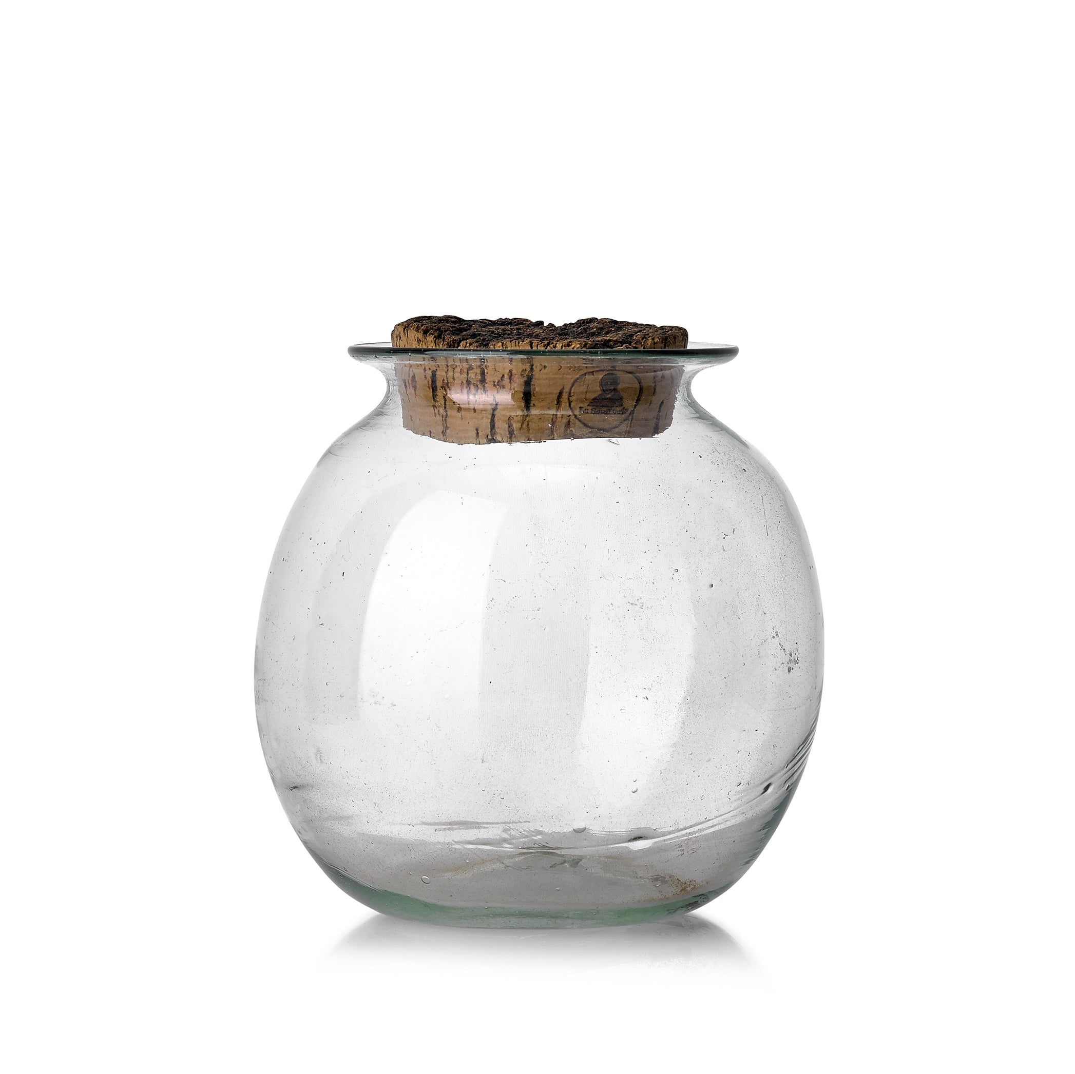 Handblown Round Glass Jar with Cork Lid