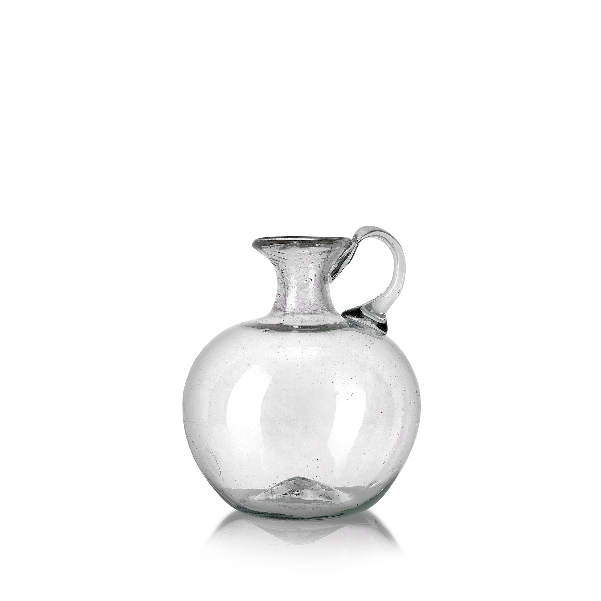 Handblown Round Glass Jug with Handle