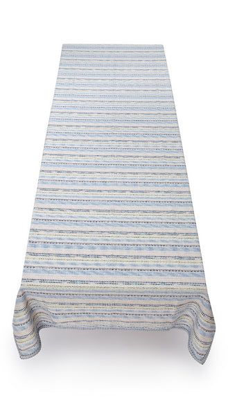Royal Icing Woven Tweed Tablecloth in Blue & White