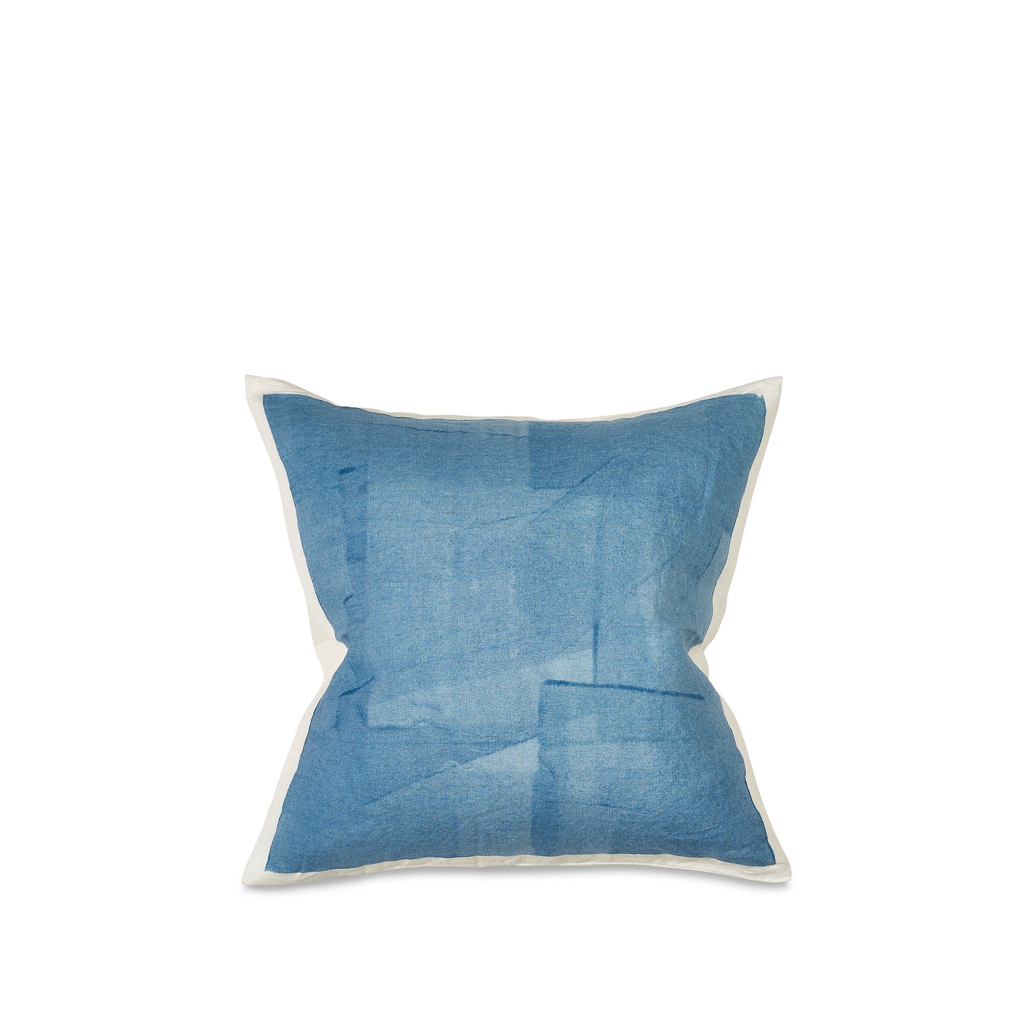 Hand Painted Linen Cushion in Sky Blue, 50cm x 50cm