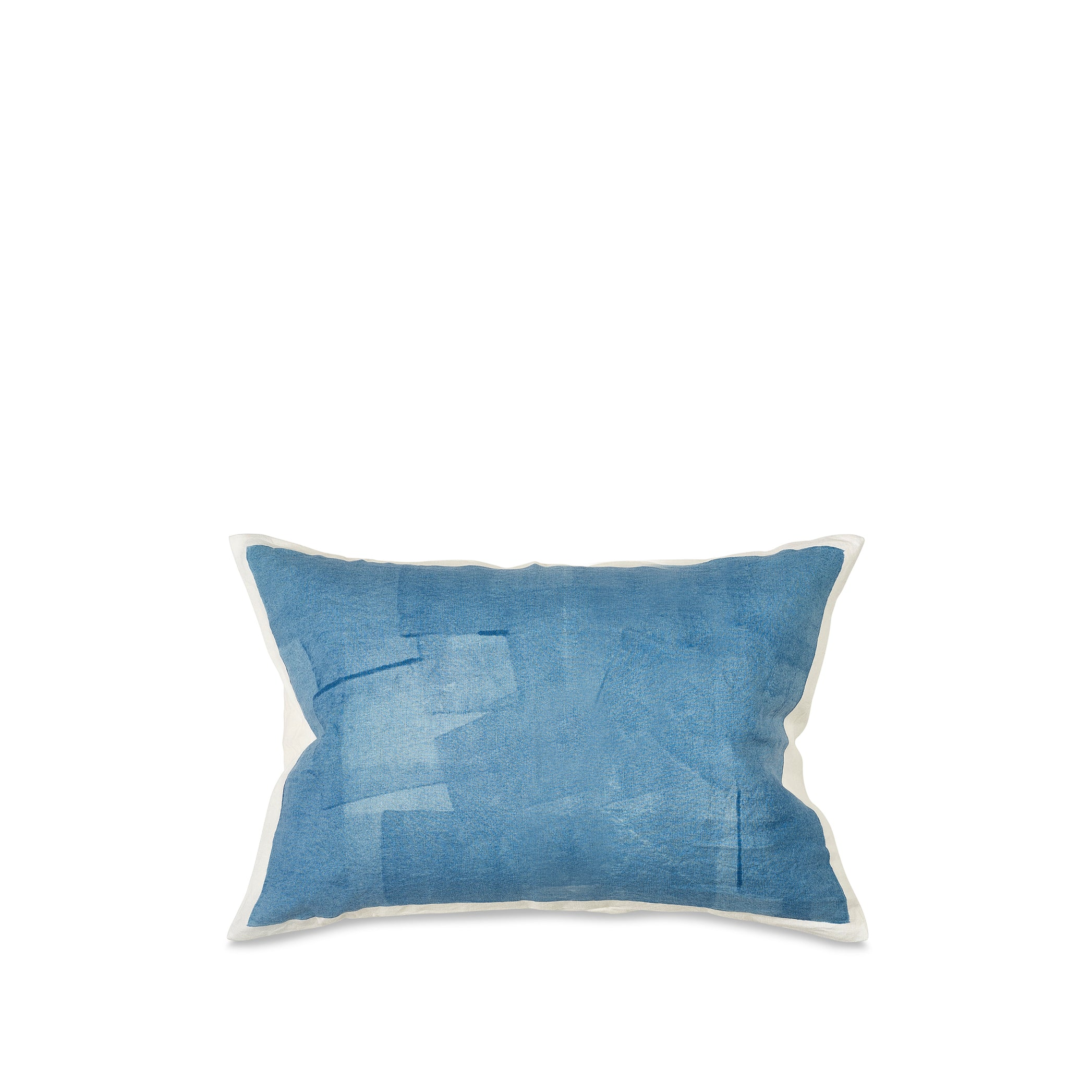 Hand Painted Linen Cushion in Sky Blue, 60cm x 40cm