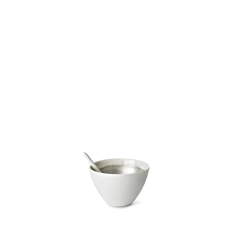 Small Porcelain Bowl with a Matte Silver Interior and Spoon, 6cm