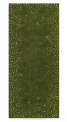 Falling Stars Linen Tablecloth in Avocado Green with Gold Stars