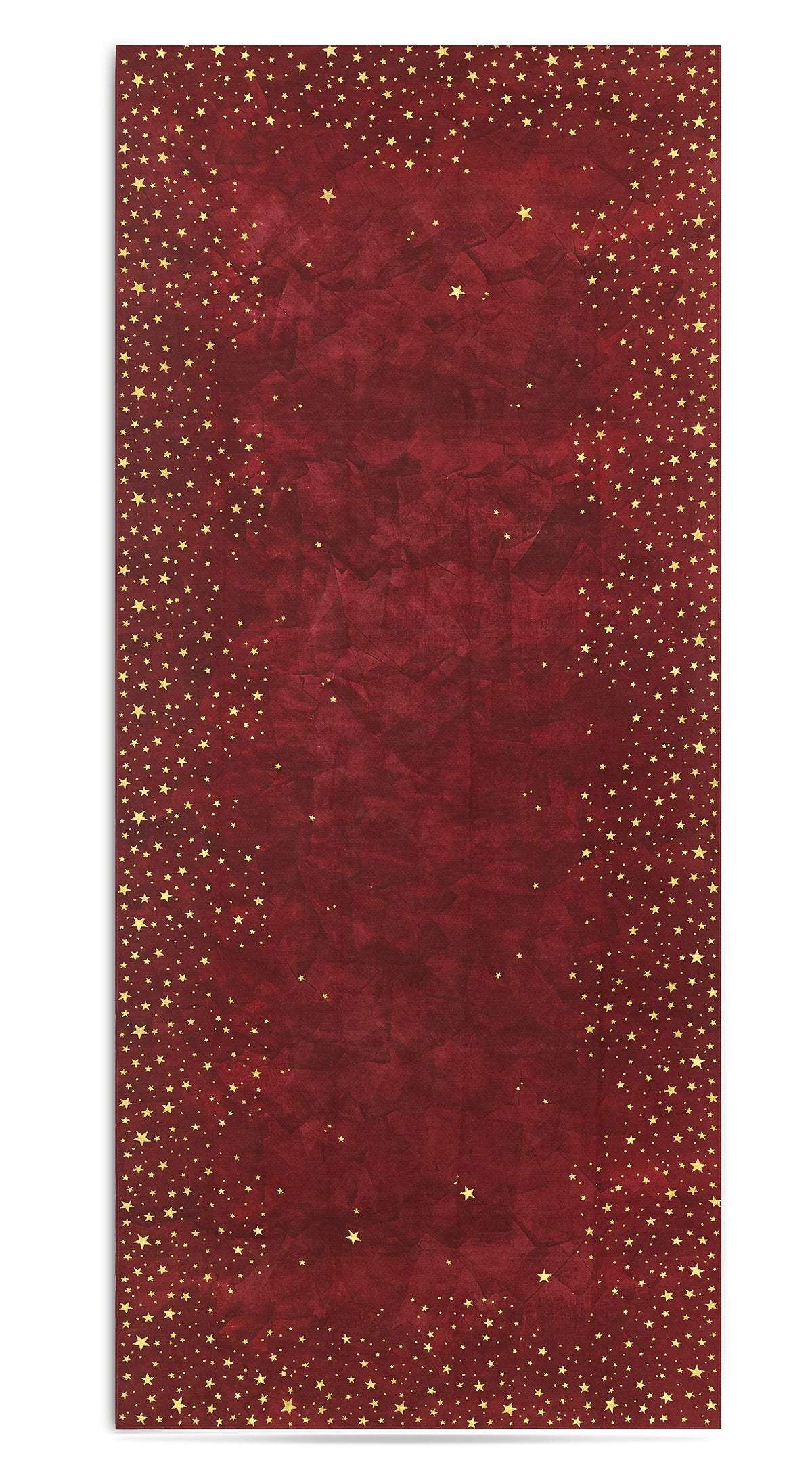 Falling Stars Linen Tablecloth in Claret Red with Gold Stars