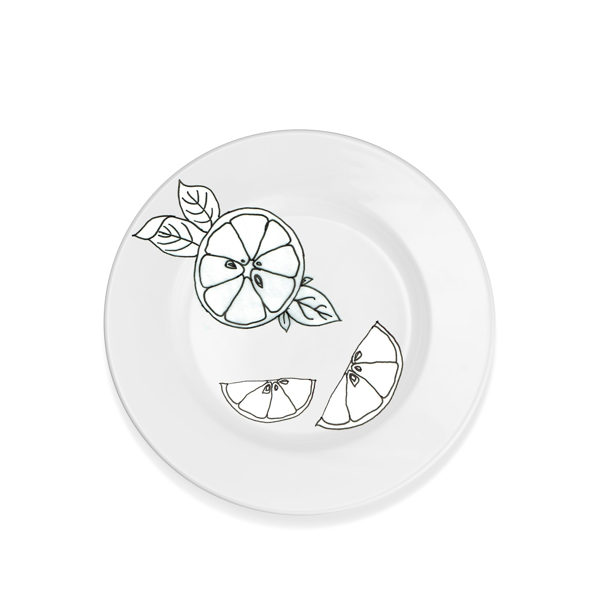 S&B Plain White Rimmed Ceramic Dinner Plate, 28.5cm