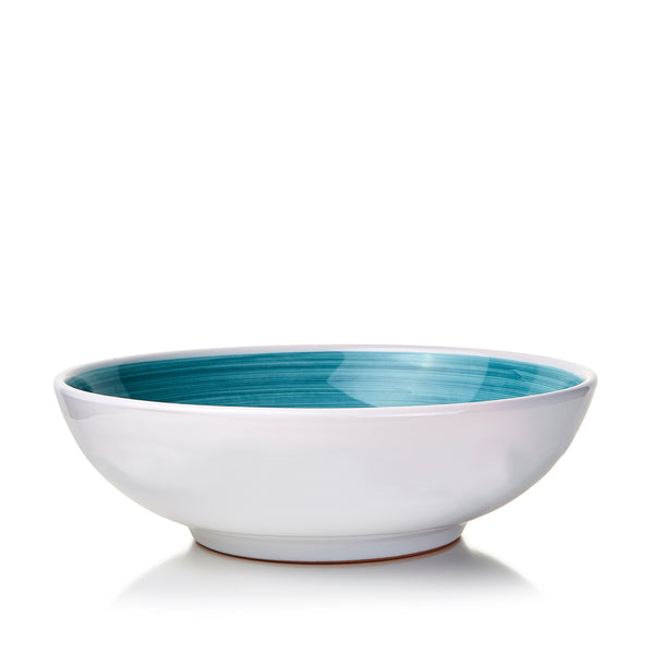 S&B 'Brushed' Ceramic Serving Bowl in Sea Blue, 30cm