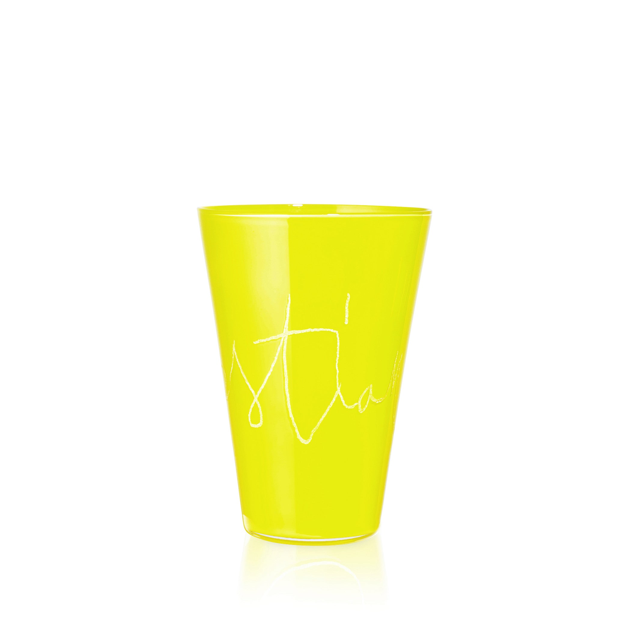 Personalised Handblown Graffiti Glass in Narcissus Yellow