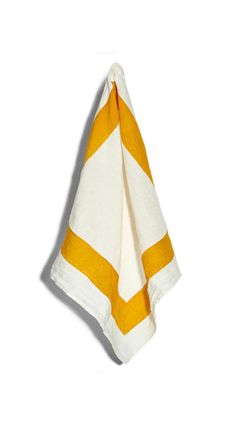 Cornice Linen Napkin in Mustard Yellow