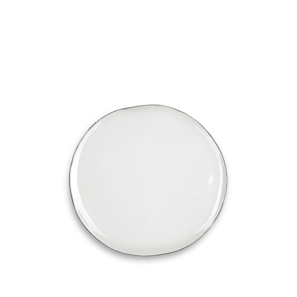 S&B Handmade 20cm Porcelain Side Plate with Silver Rim