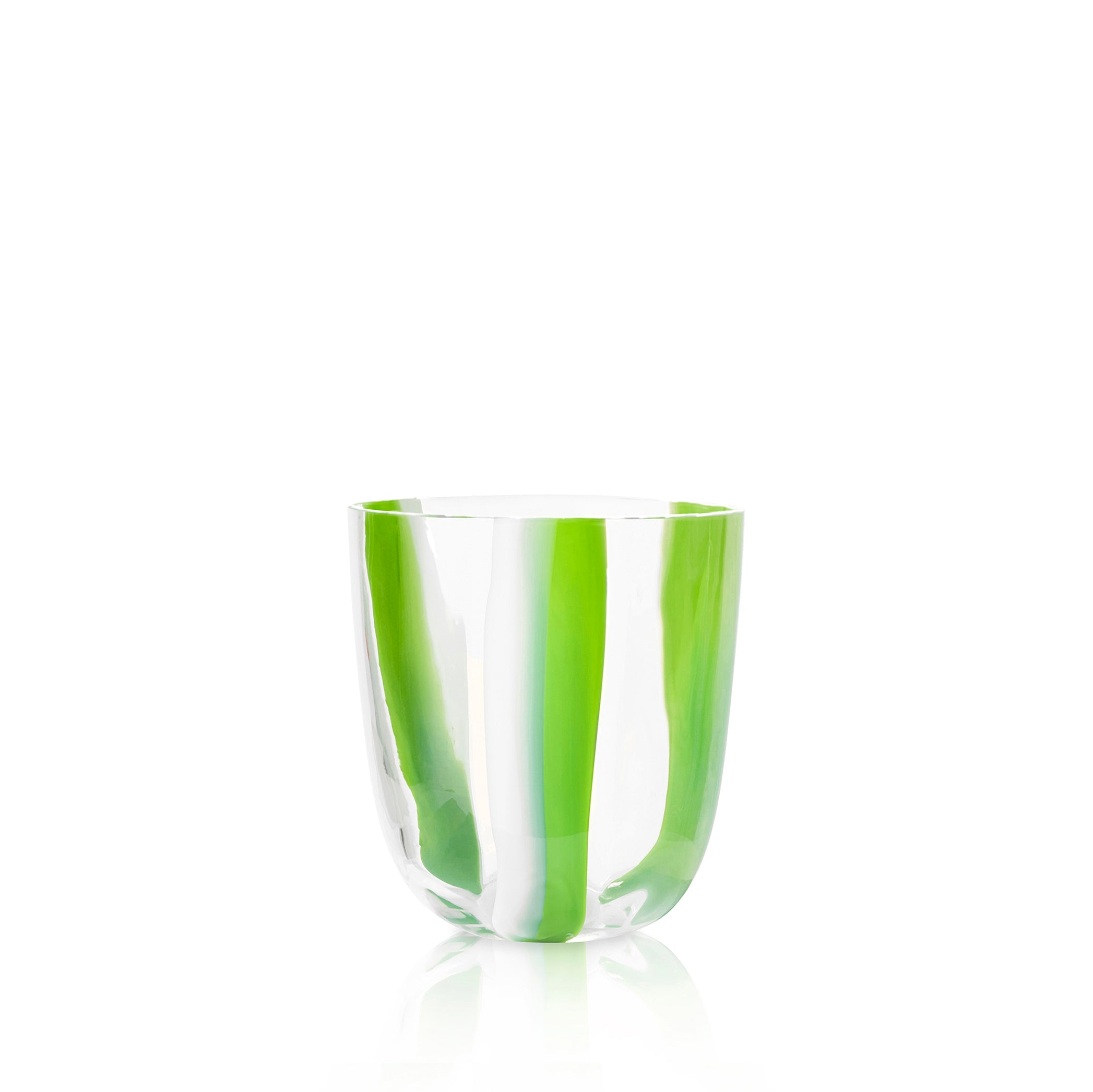Set of Eight Handblown Stripe Glass Tumblers in Avocado Green & White