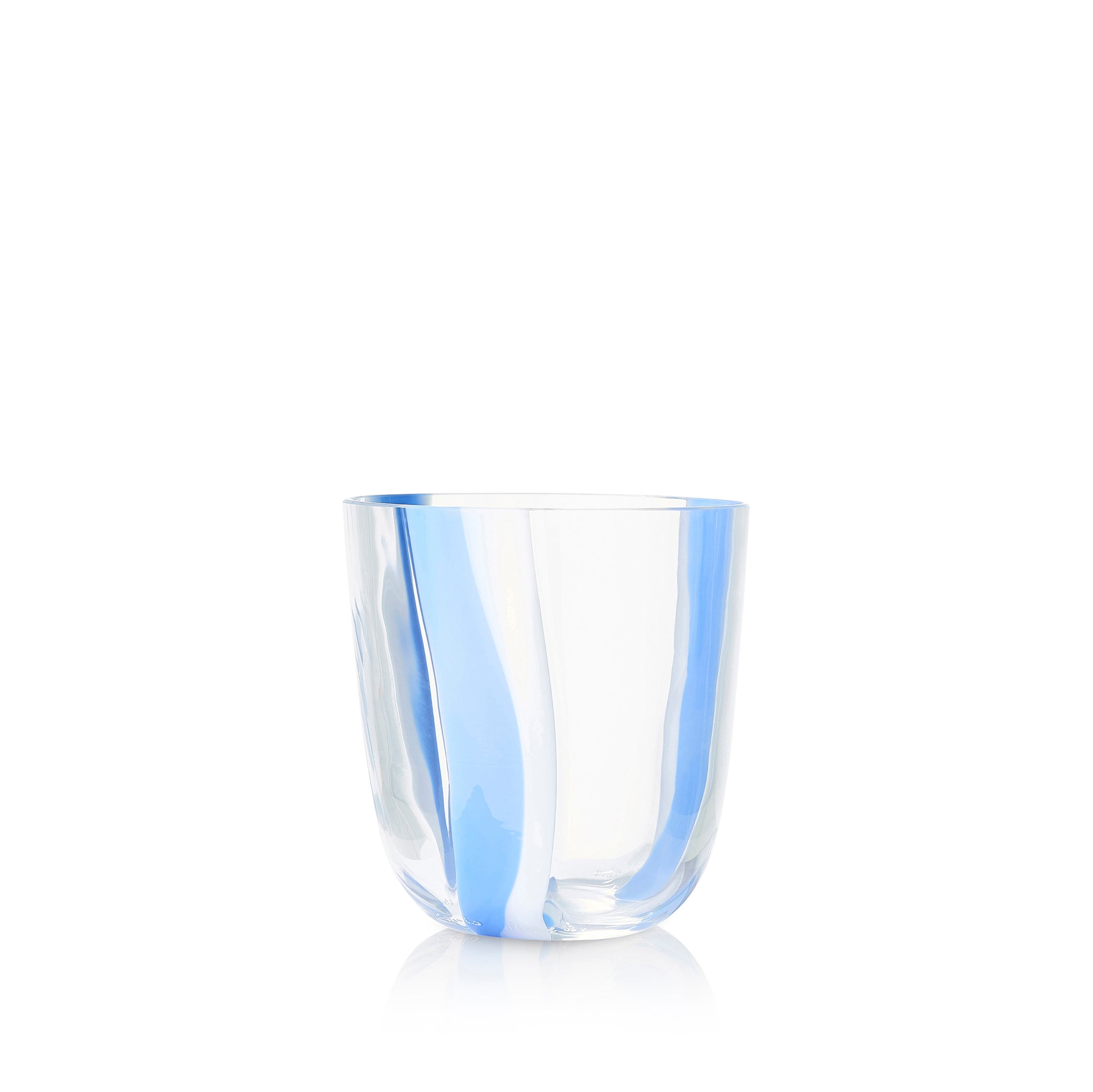 Set of Eight Handblown Stripe Glass Tumblers in Powder Blue & White