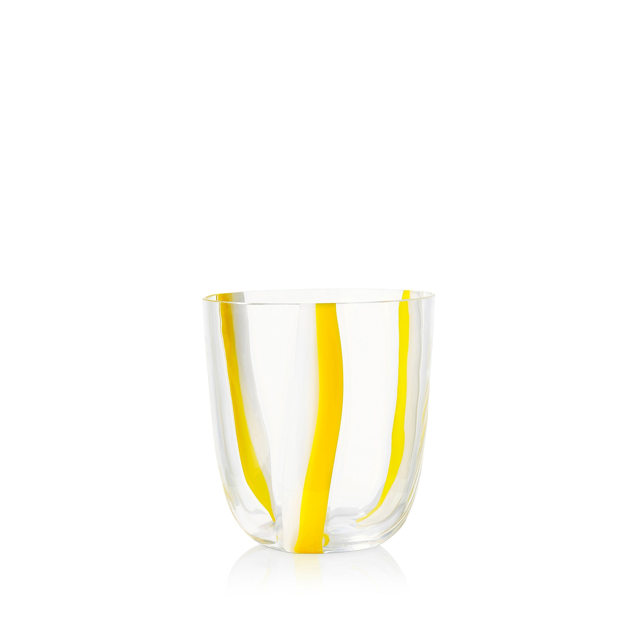 Set of Eight Handblown Stripe Glass Tumblers in Lemon Yellow & White