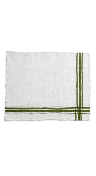 Stripe Linen Tea Towel in Avocado Green